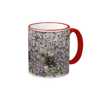Emma in Flowers II, Little Grey Tabby Kitty Cat Ringer Mug