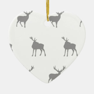 Emma Janeway Silver Grey Stags Ceramic Heart Decoration