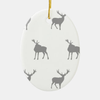 Emma Janeway Silver Grey Stags Ceramic Oval Decoration