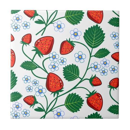 Emma Janeway Strawberries Small Square Tile