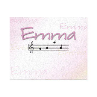 Emma Musical Name Bedroom Nursery Room Stretched Canvas Print