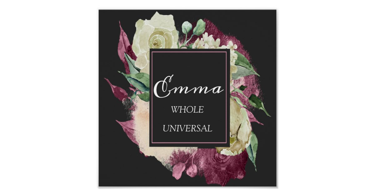 Emma Name Meaning Royal Roses Mint Green Poster   Zazzle.co.uk