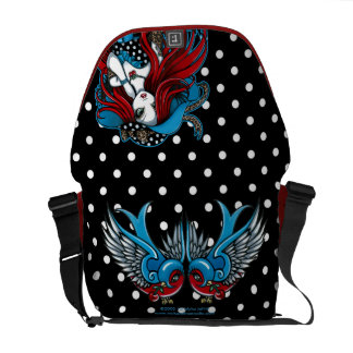 Emma Rockabilly Swallow Tattoo Angel Messenger Bag