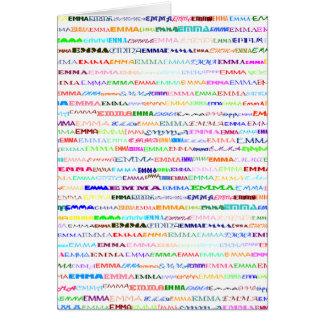 Emma Text Design II Vertical Greeting Card