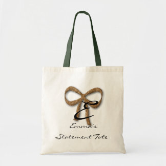 Emma's Cute Gold Bow Statement Tote