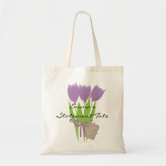 Emma's Cute Lilac Tulips Floral Statement Tote