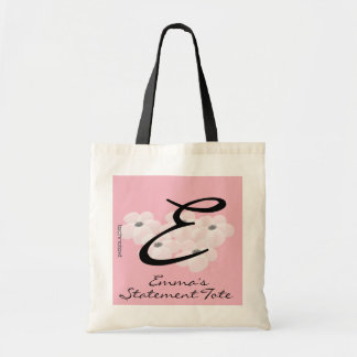 Emma's White Blossom Giant Monogram Statement Tote