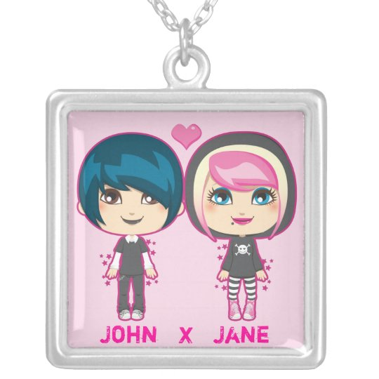 Emo Couple Silver Plated Necklace