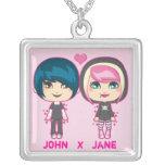 Emo Couple Square Pendant Necklace