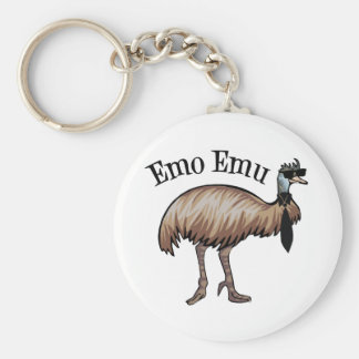Emo Emu Basic Round Button Key Ring