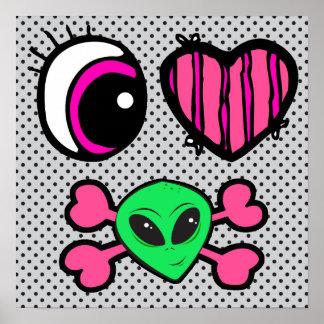 emo eye heart i heart aliens poster