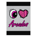Emo Eye Heart I Love Arcades 13 Cm X 18 Cm Invitation Card