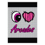 Emo Eye Heart I Love Arcades Personalised Invitation