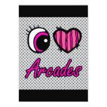 Emo Eye Heart I Love Arcades Personalised Invitation