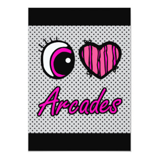 "Emo Eye Heart I Love Arcades 5"" X 7"" Invitation Card"