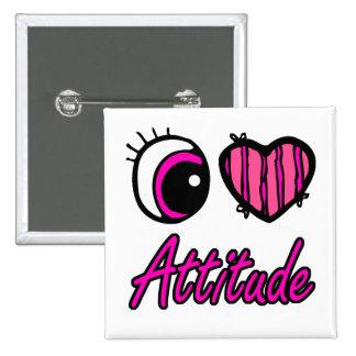 Emo Eye Heart I Love Attitude 15 Cm Square Badge