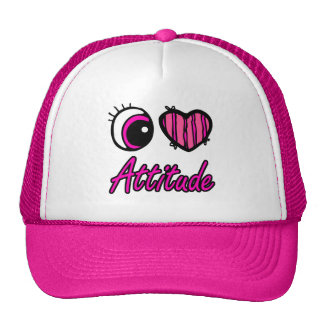 Emo Eye Heart I Love Attitude Mesh Hats