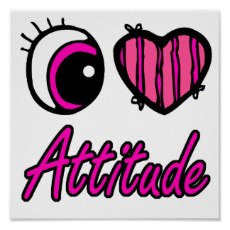 Emo Eye Heart I Love Attitude Print