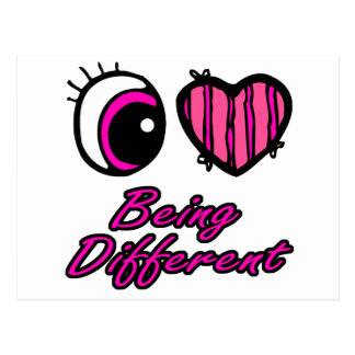 Emo Eye Heart I Love Being Different Postcard