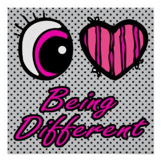 Emo Eye Heart I Love Being Different Poster