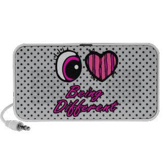 Emo Eye Heart I Love Being Different Notebook Speaker