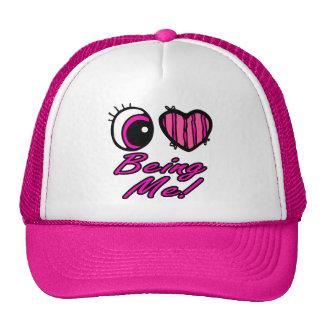 Emo Eye Heart I Love Being Me Mesh Hats