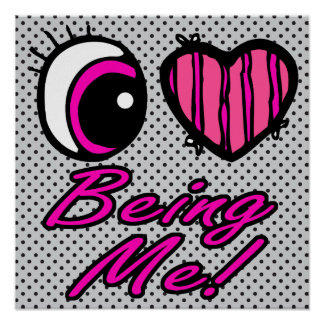 Emo Eye Heart I Love Being Me Posters