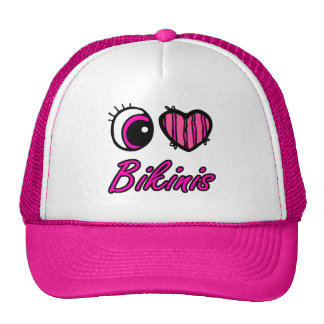 Emo Eye Heart I Love Bikinis Hats
