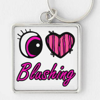 Emo Eye Heart I Love Blushing Silver-Colored Square Key Ring
