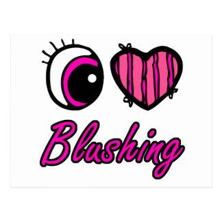 Emo Eye Heart I Love Blushing Postcard