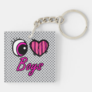 Emo Eye Heart I Love Boys Double-Sided Square Acrylic Key Ring