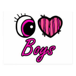 Emo Eye Heart I Love Boys Postcard