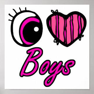 Emo Eye Heart I Love Boys Print