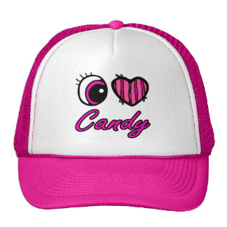 Emo Eye Heart I Love Candy Mesh Hats