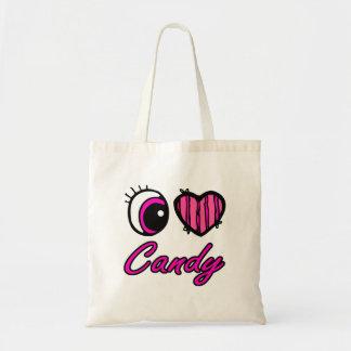 Emo Eye Heart I Love Candy Budget Tote Bag