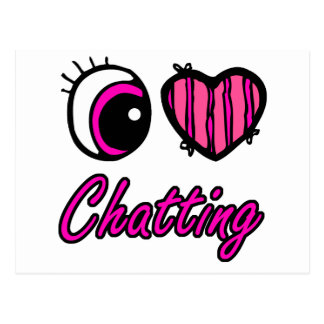 Emo Eye Heart I Love Chatting Postcard