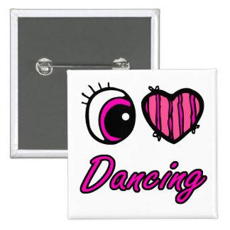 Emo Eye Heart I Love Dancing 15 Cm Square Badge