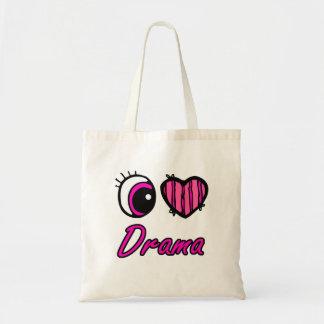 Emo Eye Heart I Love Drama Budget Tote Bag