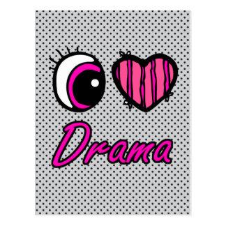 Emo Eye Heart I Love Drama Postcard