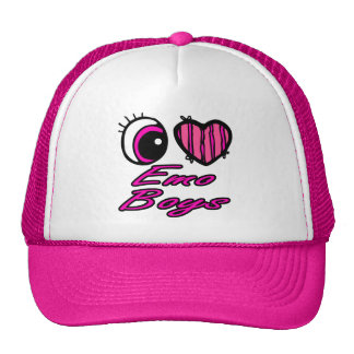 Emo Eye Heart I Love Emo Boys Trucker Hats