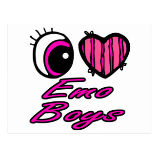 Emo Eye Heart I Love Emo Boys Postcard