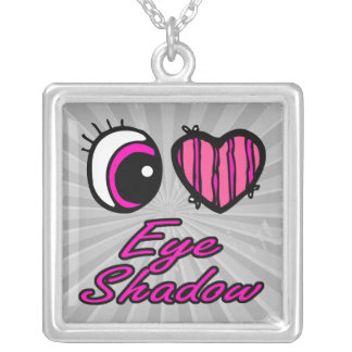 Emo Eye Heart I Love Eye Shadow Square Pendant Necklace
