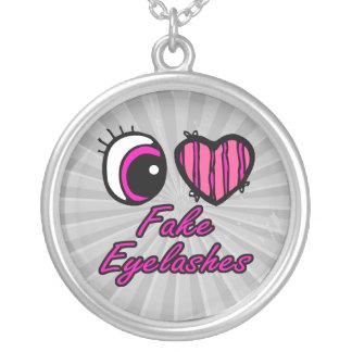 Emo Eye Heart I Love Fake Eyelashes Round Pendant Necklace