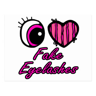 Emo Eye Heart I Love Fake Eyelashes Postcard