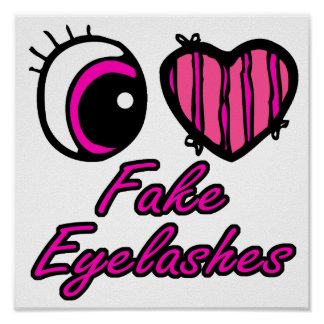 Emo Eye Heart I Love Fake Eyelashes Posters