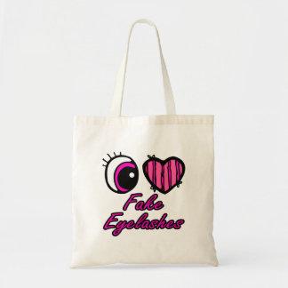Emo Eye Heart I Love Fake Eyelashes Budget Tote Bag