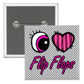 Emo Eye Heart I Love Flip Flops 15 Cm Square Badge