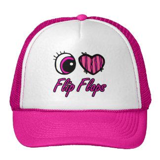 Emo Eye Heart I Love Flip Flops Cap