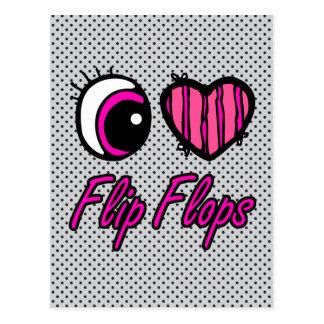 Emo Eye Heart I Love Flip Flops Postcard