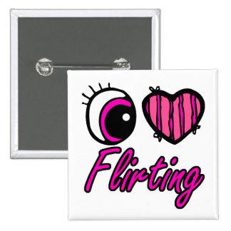 Emo Eye Heart I Love Flirting 15 Cm Square Badge